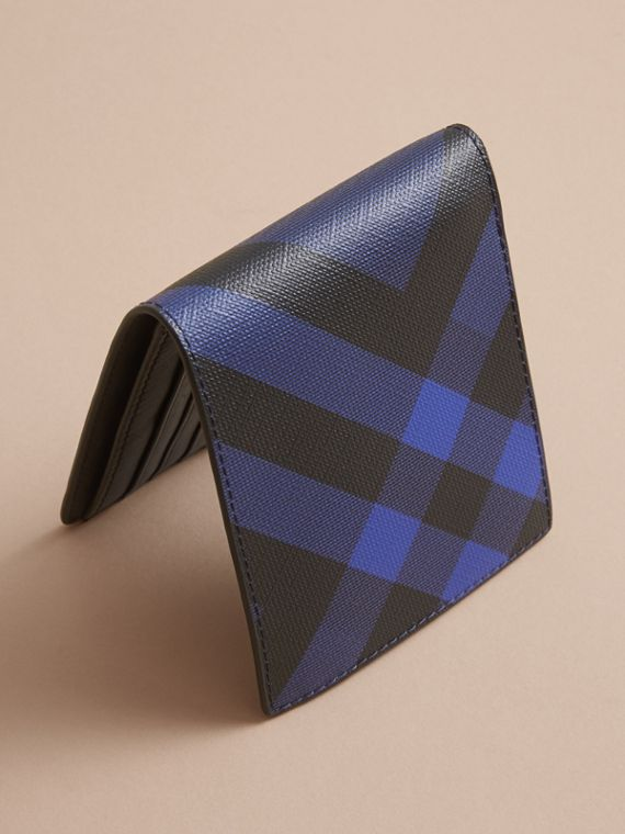 London Check Bifold Wallet with Coin Compartment in Bright Lapis - Men | Burberry - cell image 3