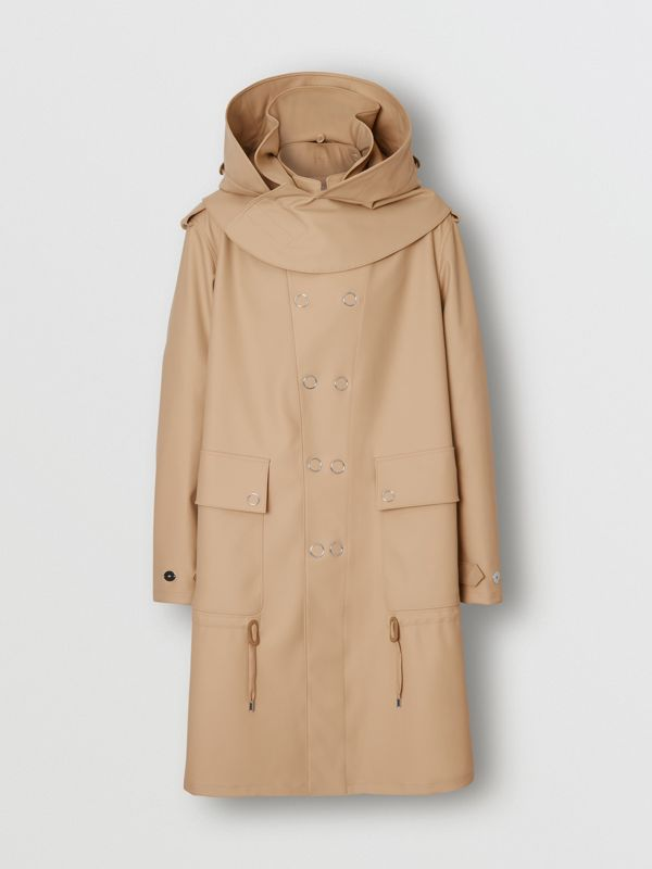 Detachable Hood Rubberised Parka in Honey | Burberry - cell image 3