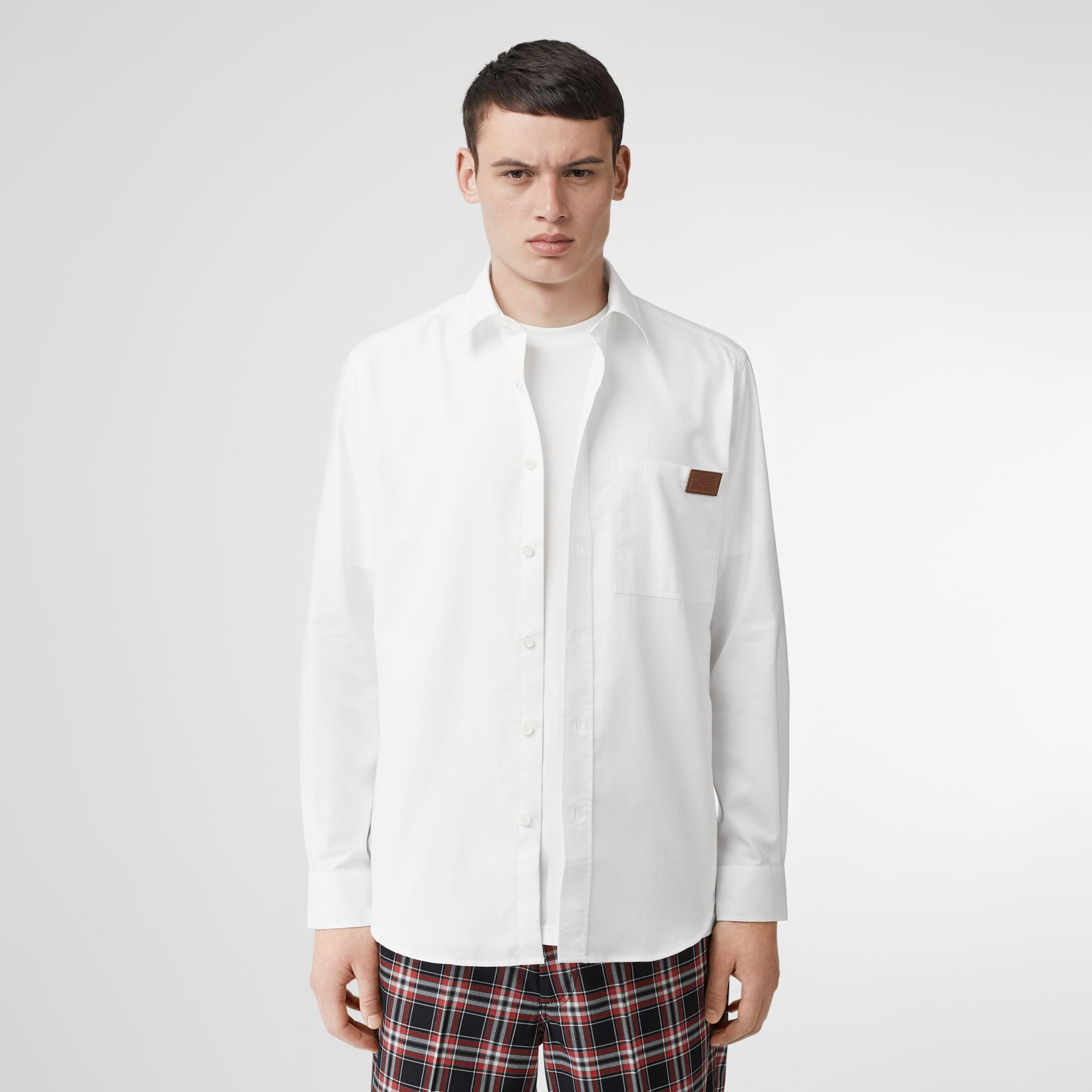 Logo Detail Cotton Oxford Shirt in White - Men | Burberry - gallery image 4