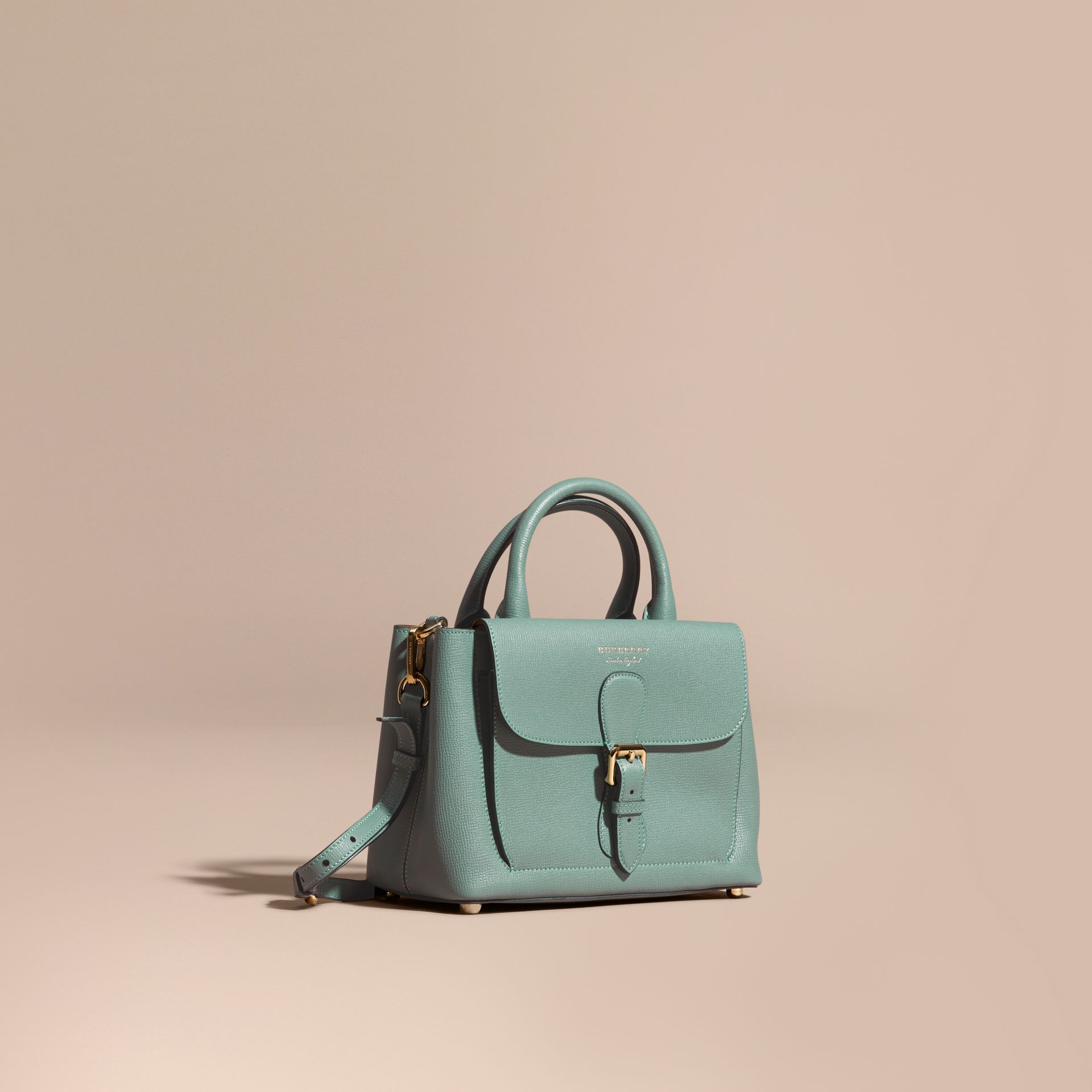 Smokey green The Small Saddle Bag in Grainy Bonded Leather Smokey Green - gallery image 1