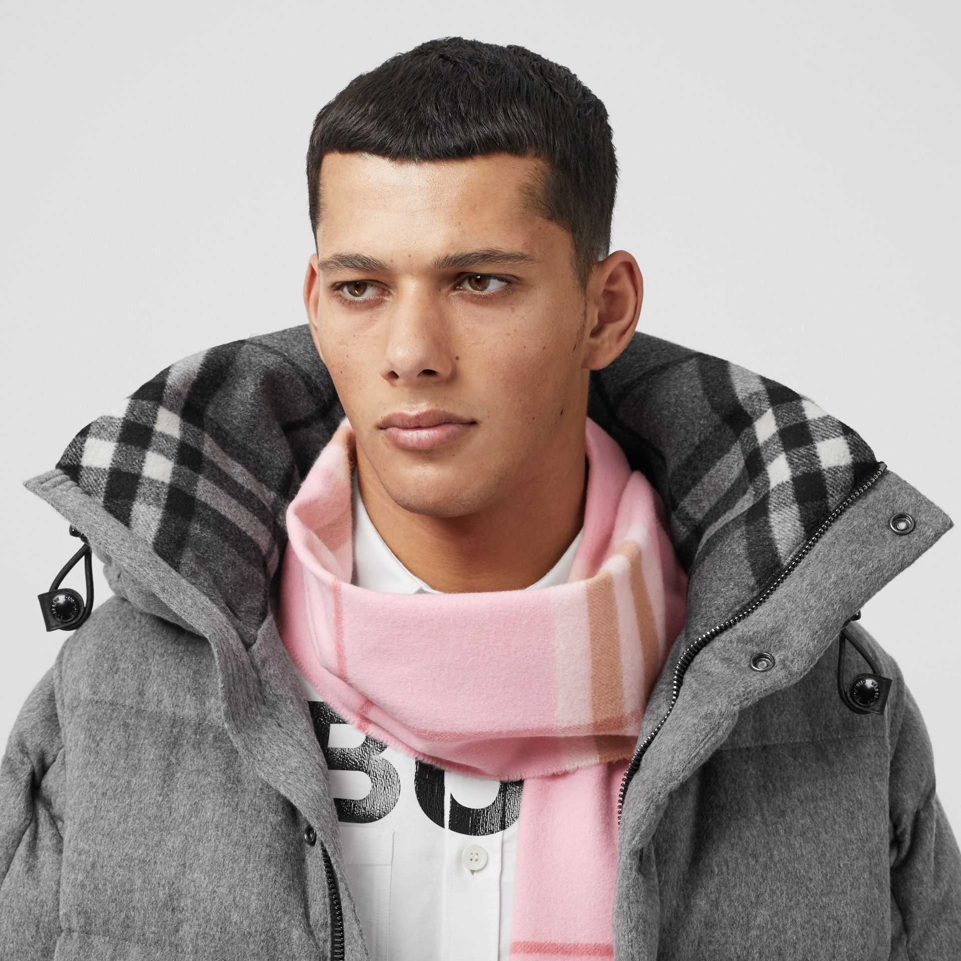 The Classic Check Cashmere Scarf in Candy Pink | Burberry United States - gallery image 3
