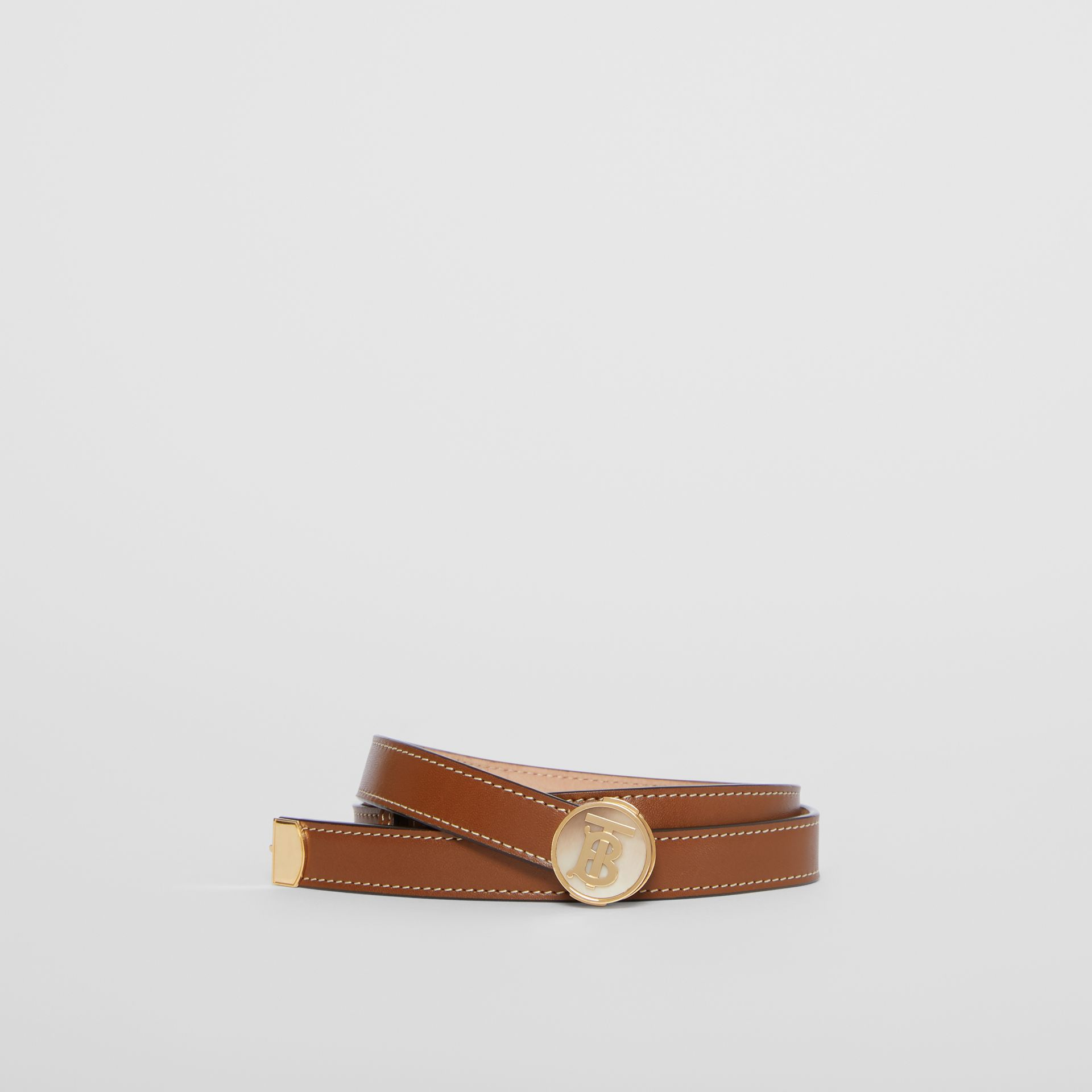 Monogram Motif Leather Belt in Tan - Women | Burberry - gallery image 0