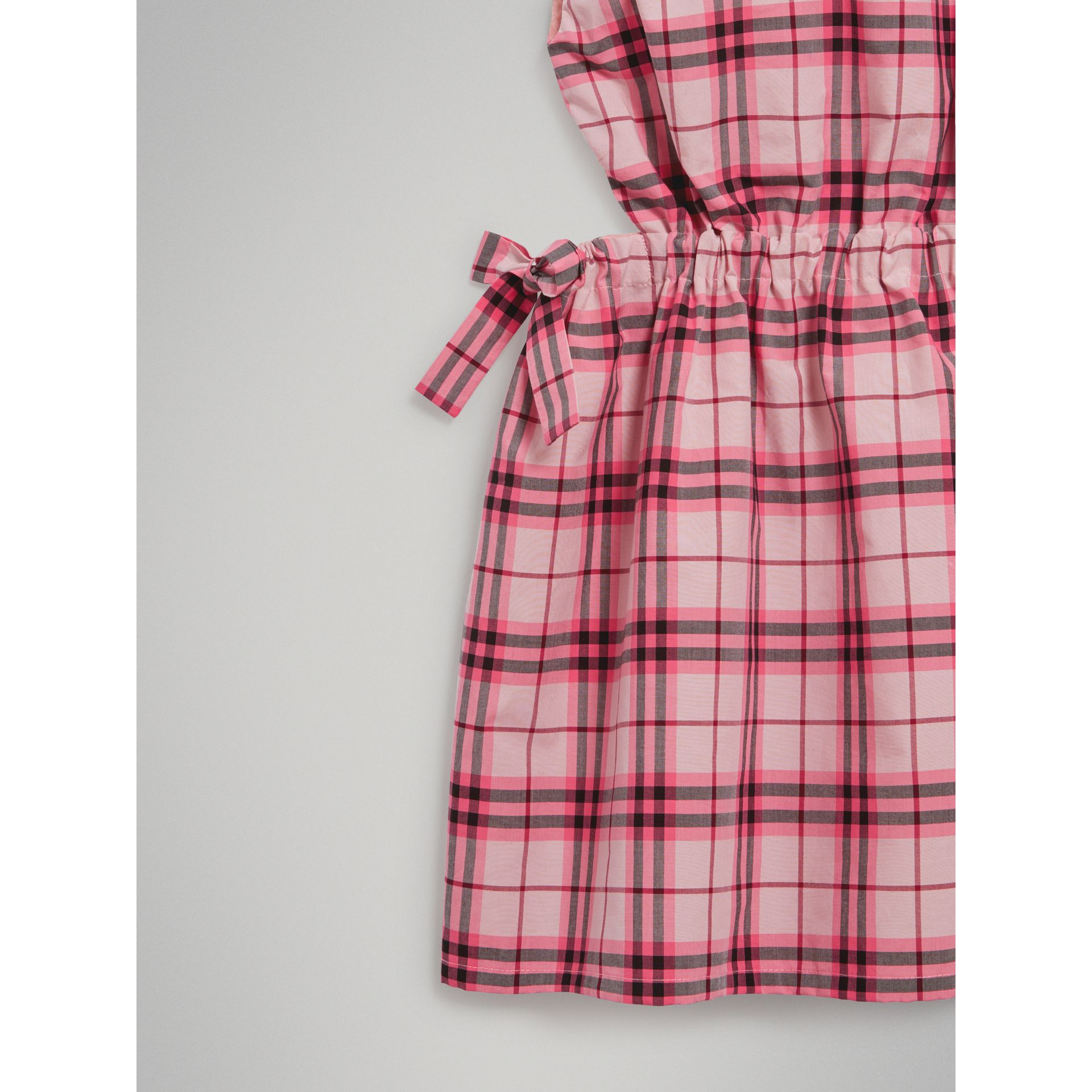 Tie Detail Check Cotton Dress in Bright Rose - Girl | Burberry - gallery image 4