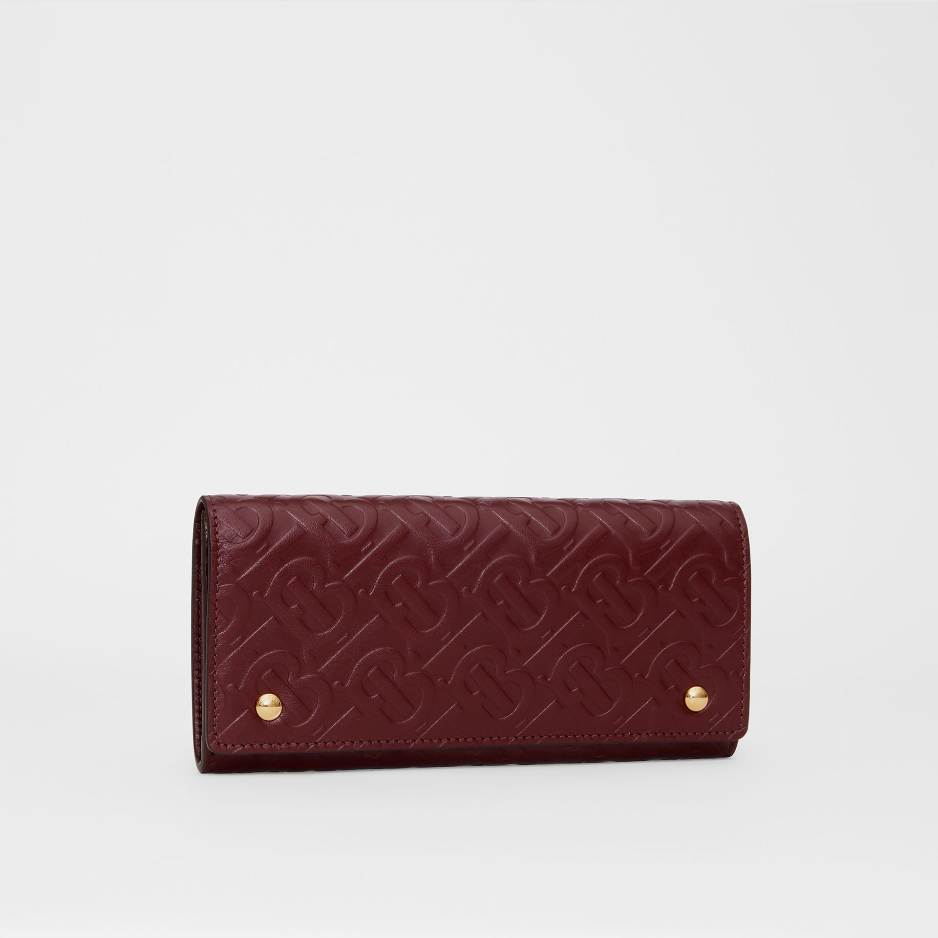 Monogram Leather Continental Wallet in Oxblood - Women | Burberry - gallery image 4