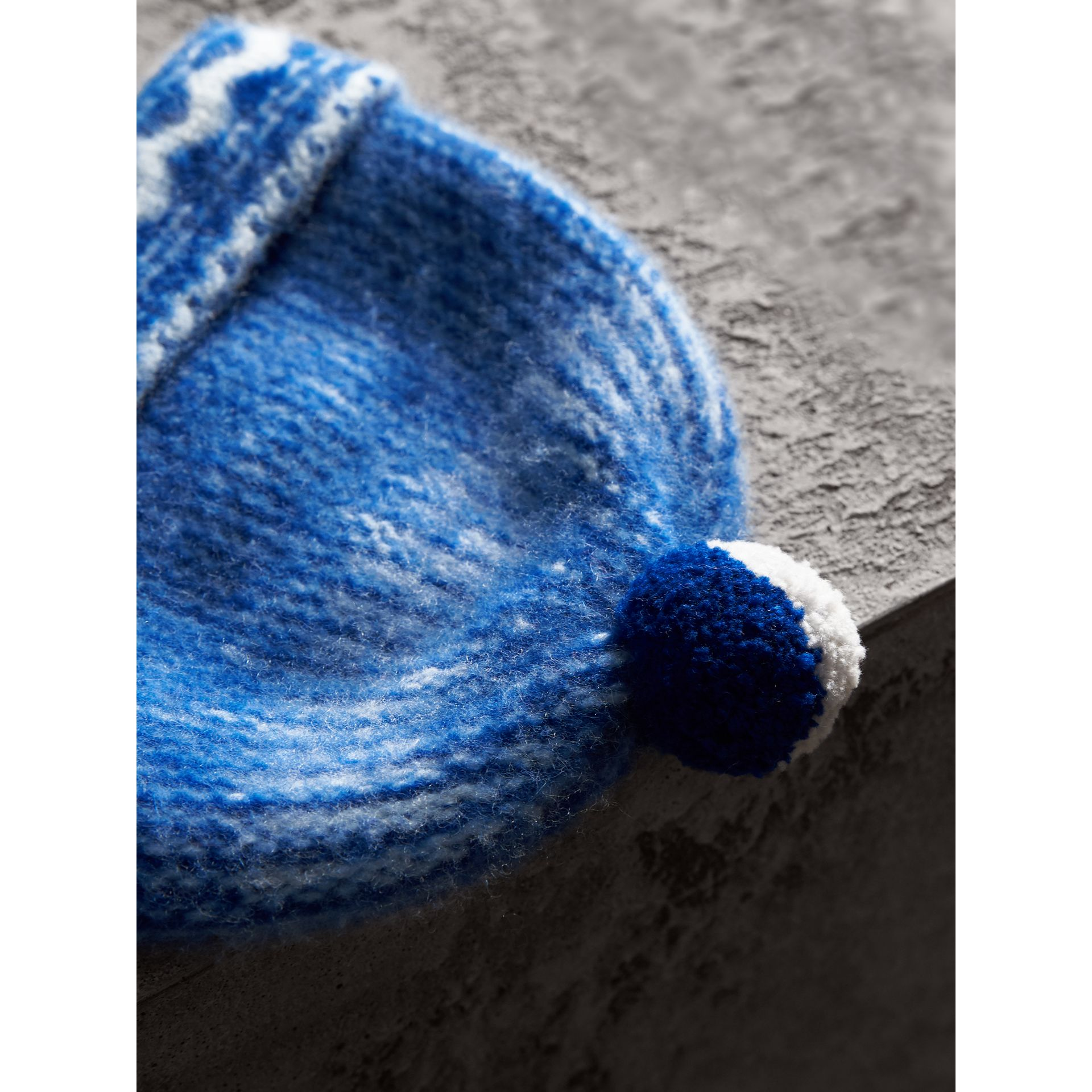Pom-pom Fair Isle Cashmere Beanie in Cobalt Blue - Women | Burberry - gallery image 1
