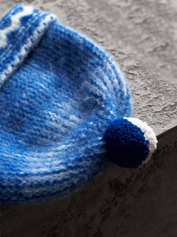 Pom-pom Fair Isle Cashmere Beanie in Cobalt Blue - Women | Burberry - cell image 1