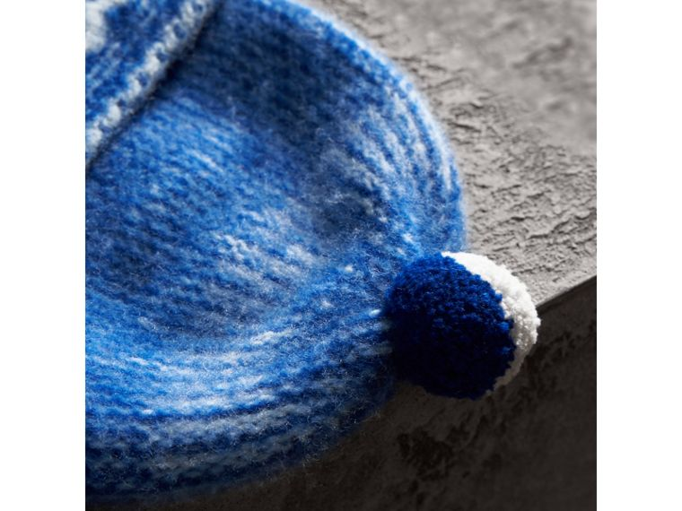 Pom-pom Fair Isle Cashmere Beanie in Cobalt Blue | Burberry - cell image 1