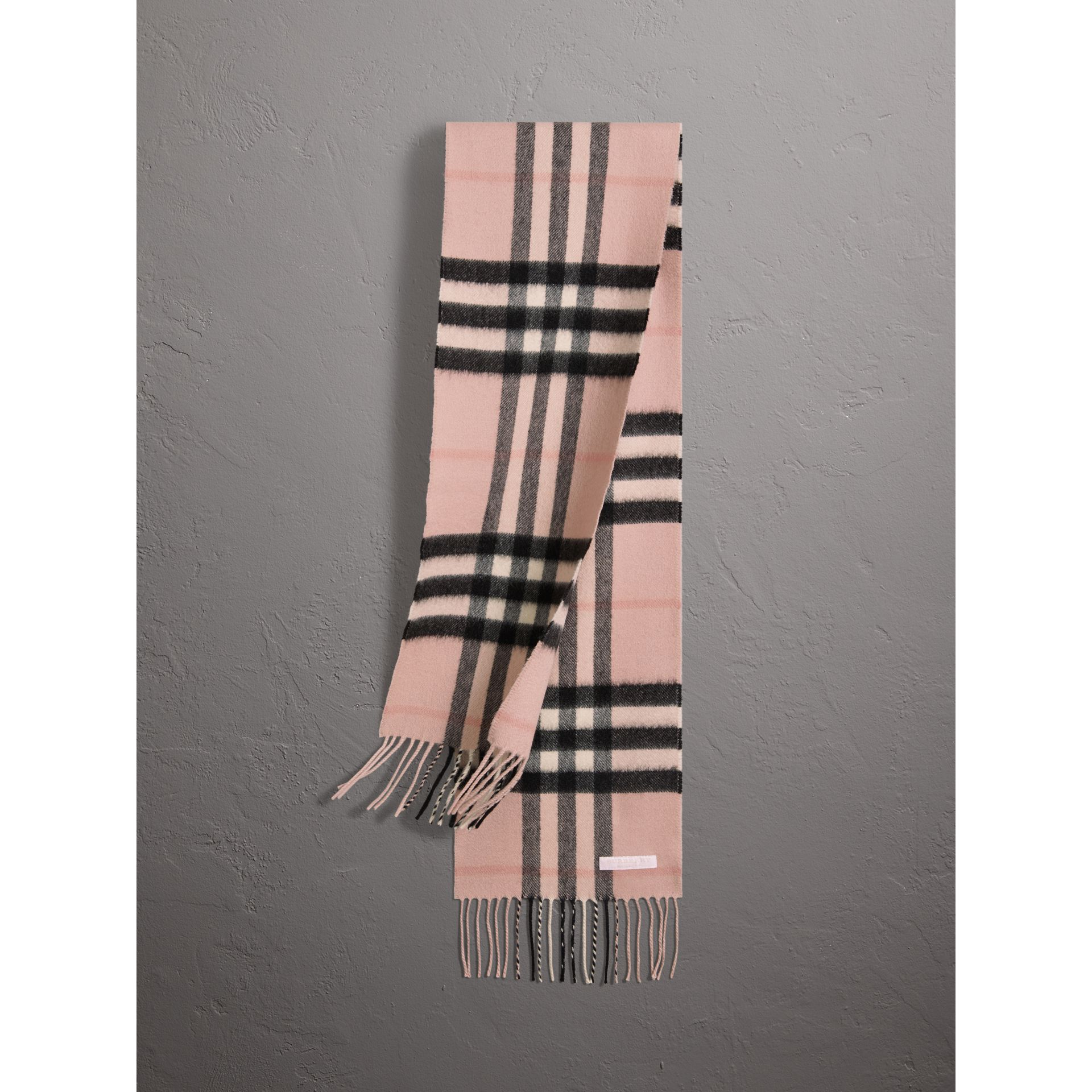 The Mini Classic Check Cashmere Scarf in Ash Rose | Burberry - gallery image 0