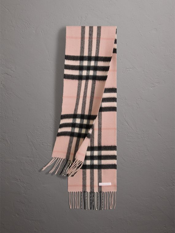 The Mini Classic Check Cashmere Scarf in Ash Rose