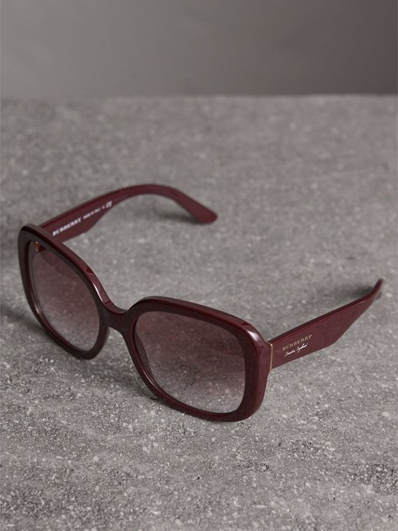 Square Frame Sunglasses in Burgundy - Women | Burberry United States - cell image 2