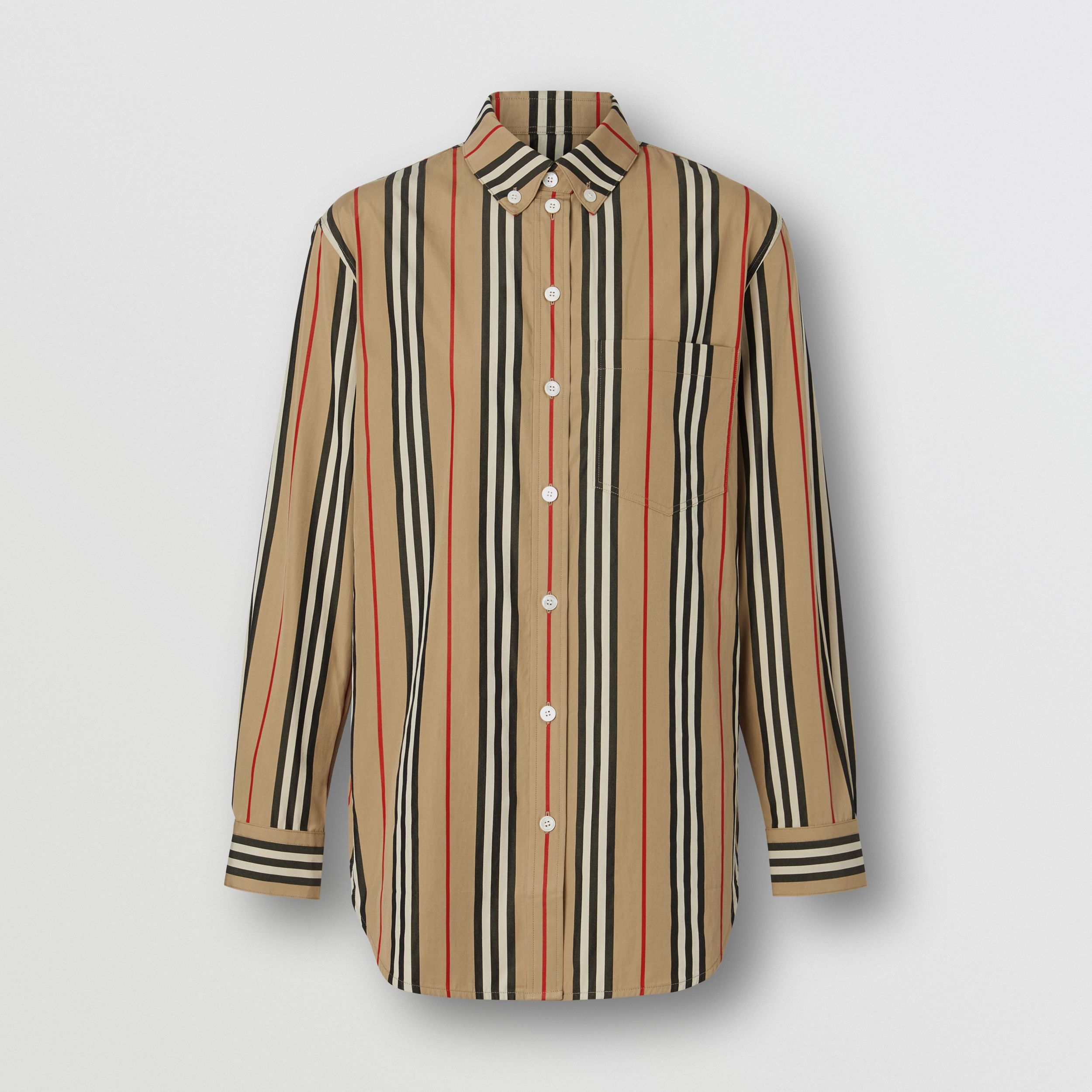 Button-down Collar Icon Stripe Cotton Shirt in Archive Beige - Women | Burberry Australia - 4