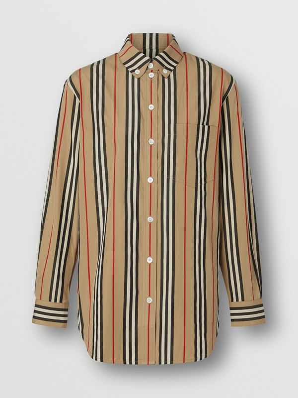 Button-down Collar Icon Stripe Cotton Shirt in Archive Beige - Women | Burberry Hong Kong - cell image 3