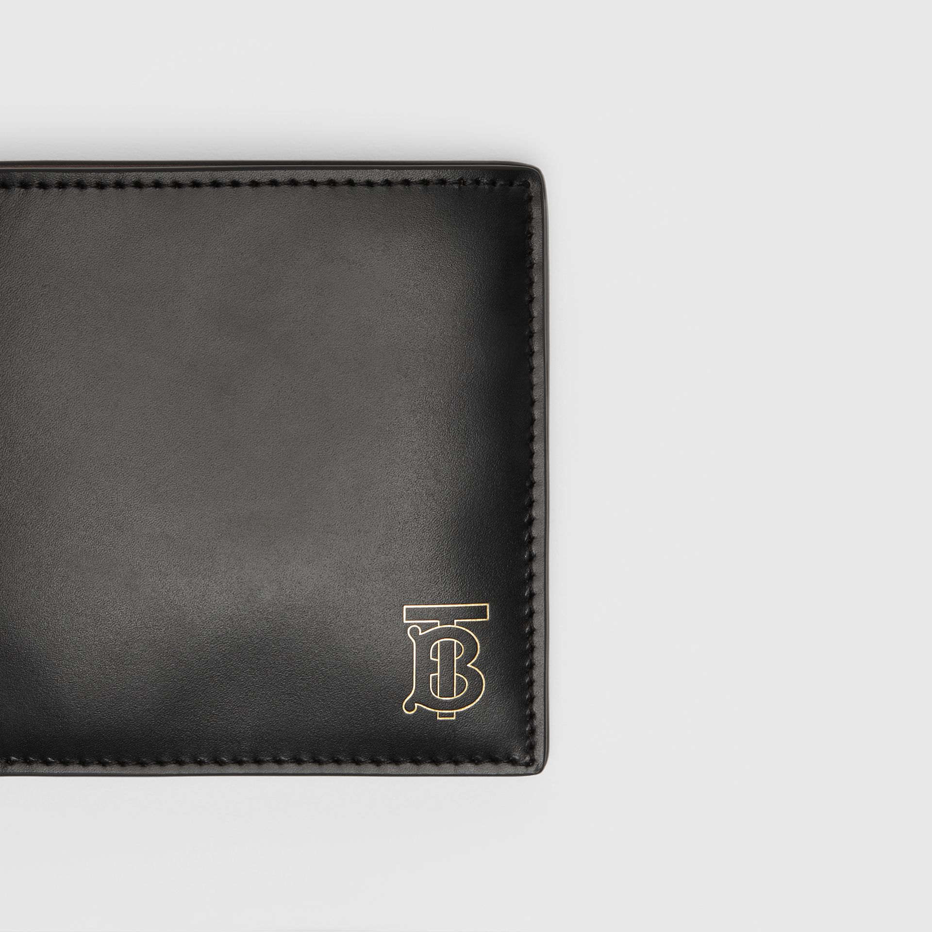 Monogram Motif Leather International Bifold Wallet in Black - Men | Burberry United Kingdom - gallery image 1