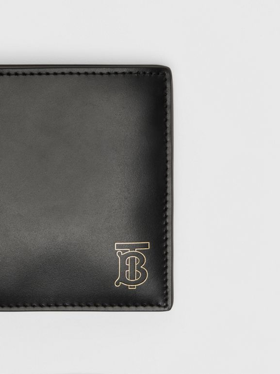 Monogram Motif Leather International Bifold Wallet in Black - Men | Burberry United Kingdom - cell image 1