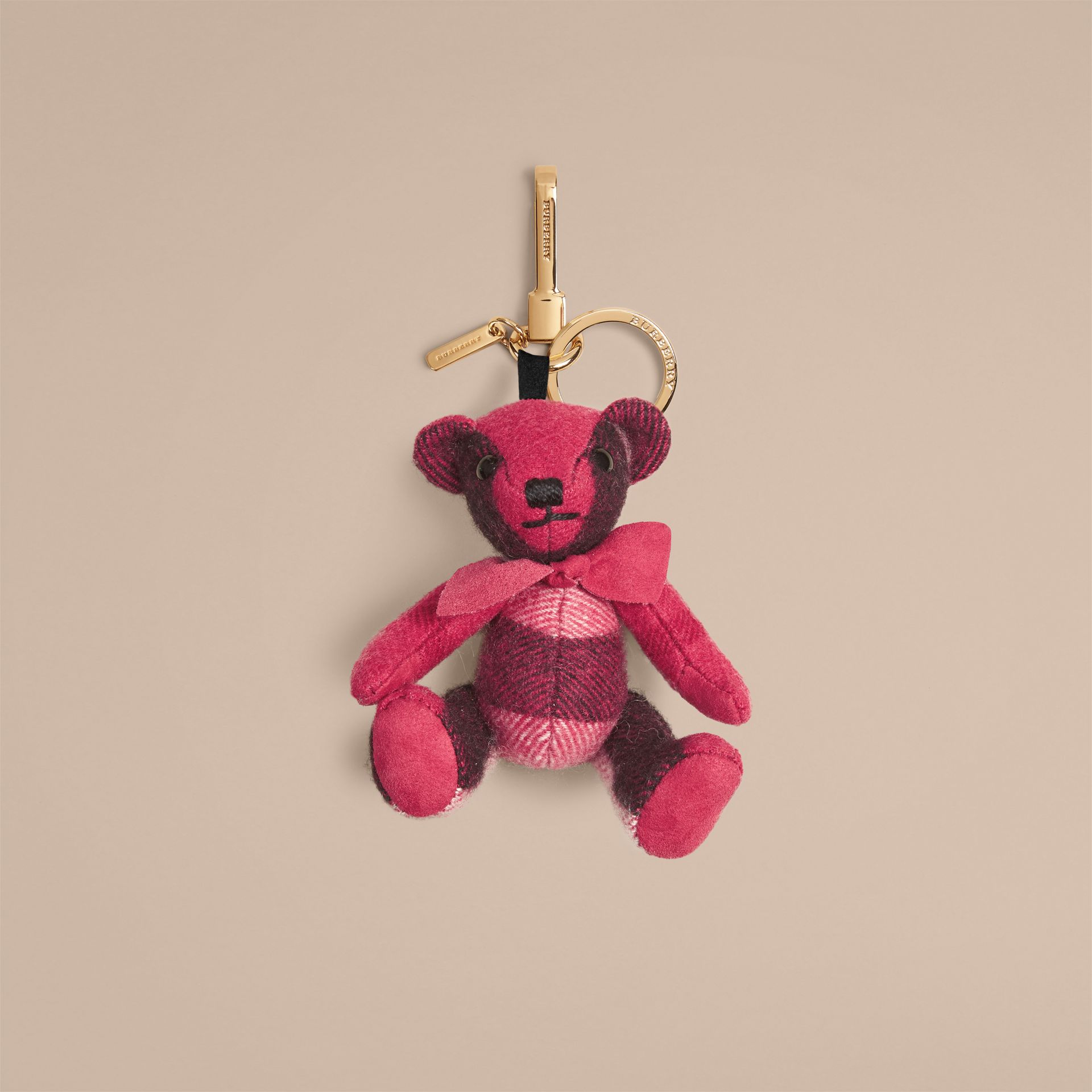 Thomas Bear Charm in Check Cashmere Fuchsia Pink - gallery image 1