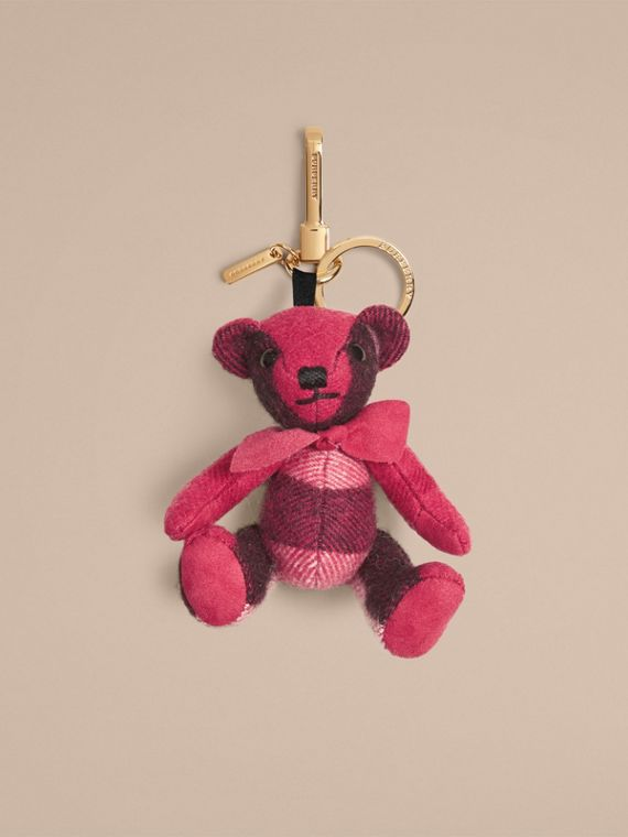Thomas Bear Charm in Check Cashmere Fuchsia Pink
