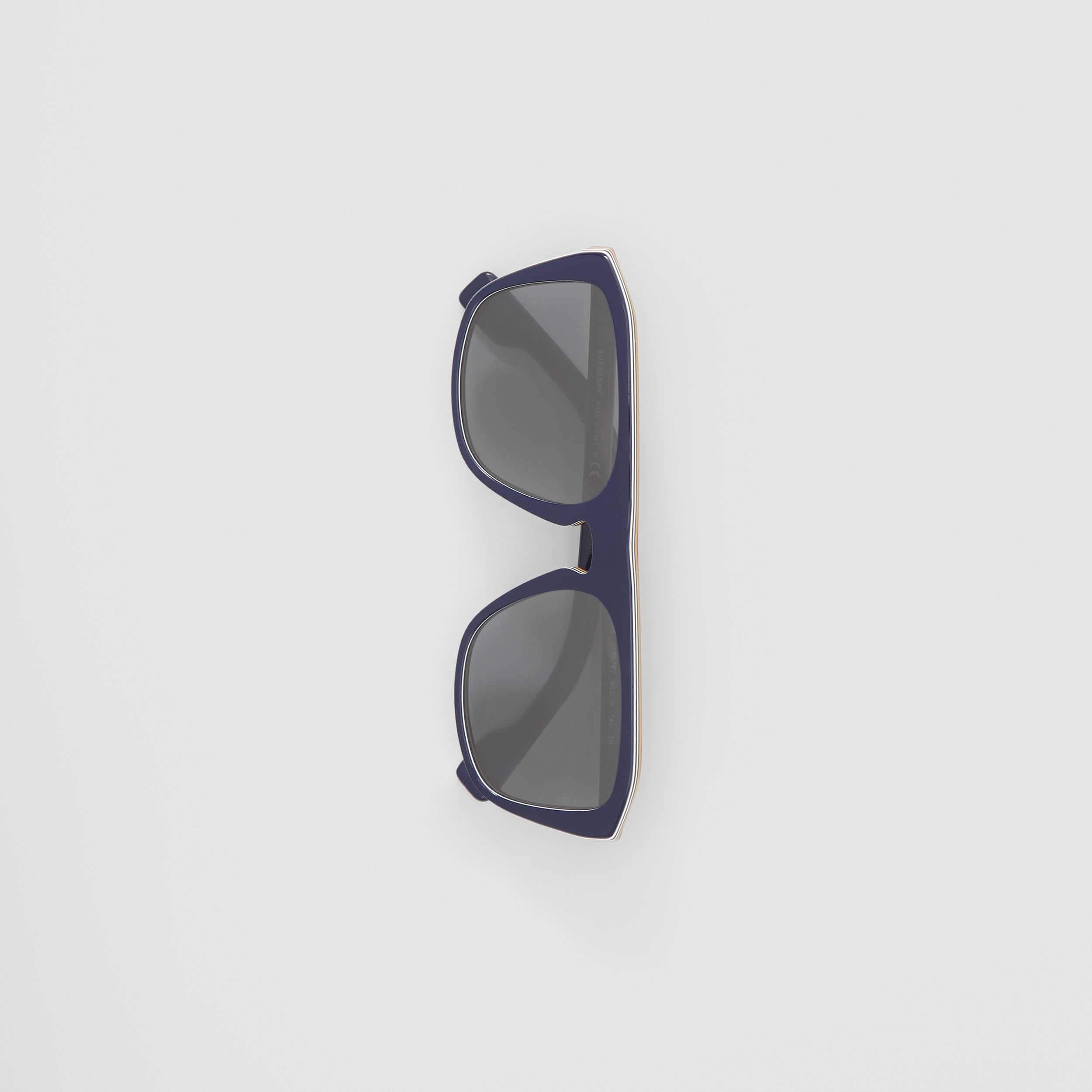Icon Stripe Detail Square Frame Sunglasses in Blue - Men | Burberry - 3
