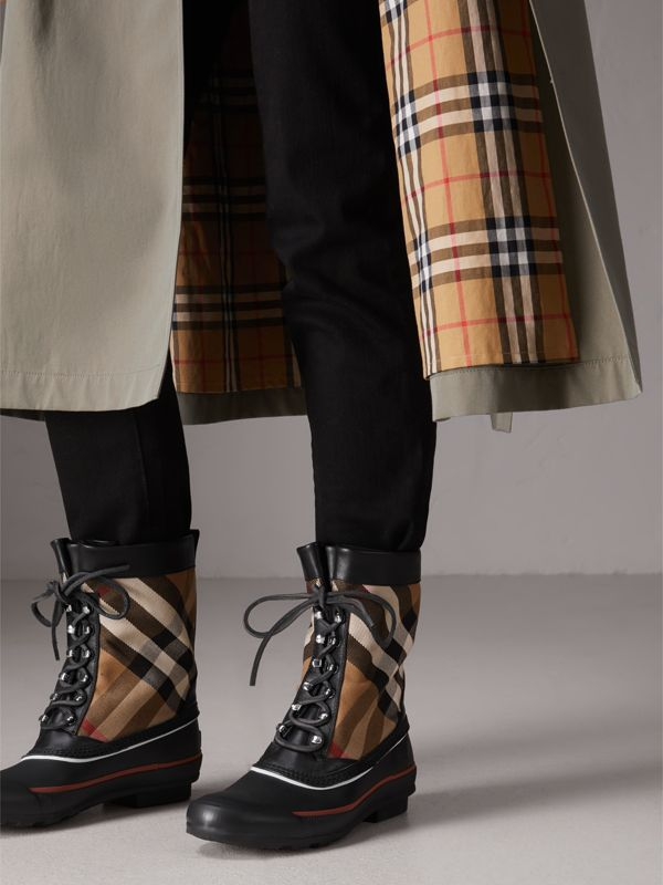 Lace-up House Check and Rubber Rain Boots in Classic Check/black - Women | Burberry - cell image 2