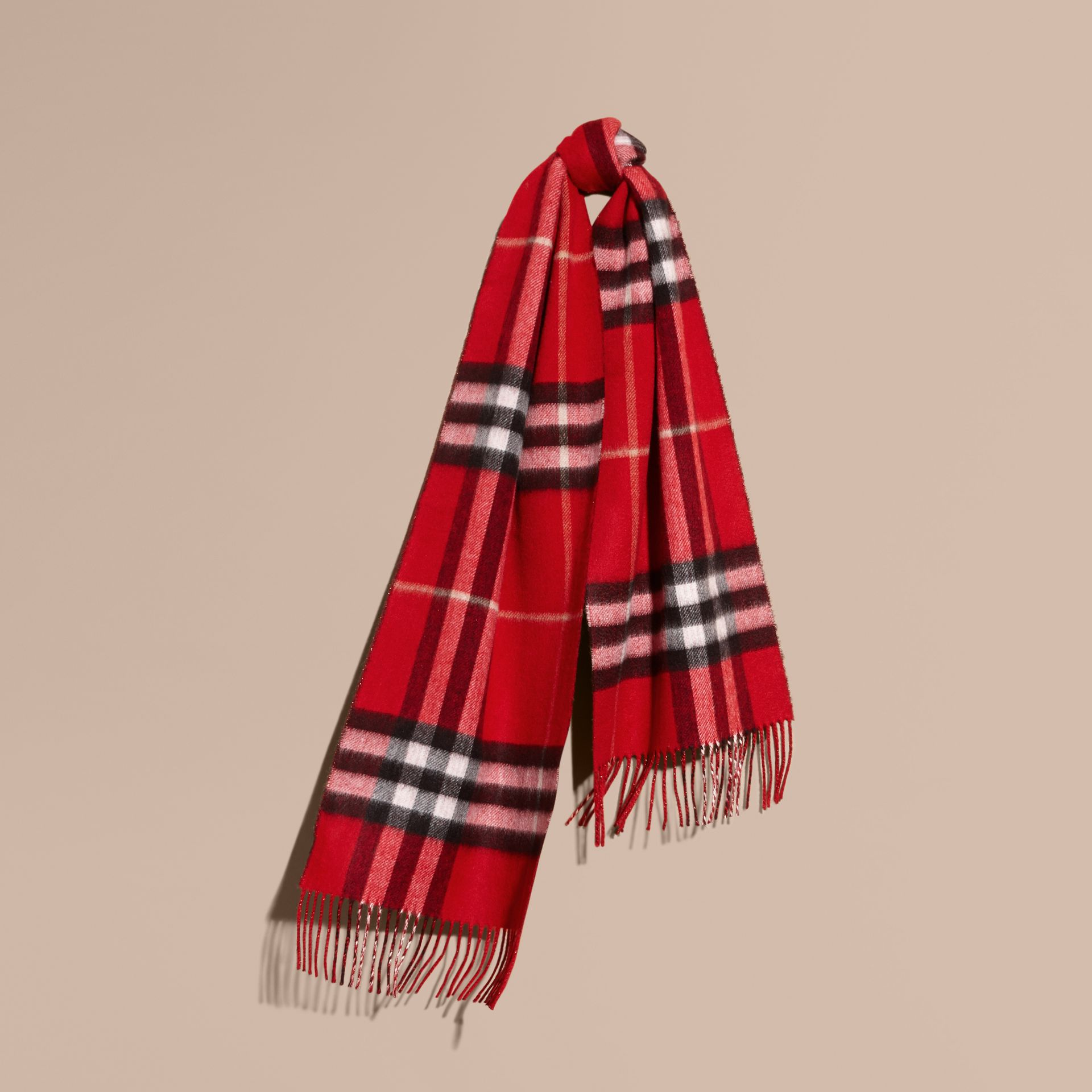 Reversible Metallic Check Cashmere Scarf in Parade Red - gallery image 6