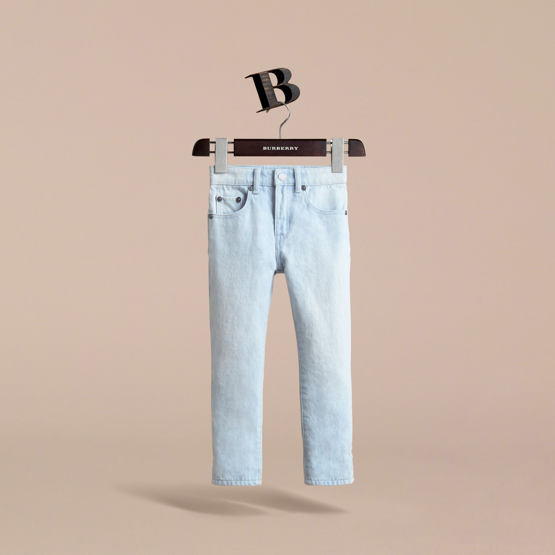 Relaxed Fit Stretch Denim Jeans in Pale Blue - Boy | Burberry - gallery image 3