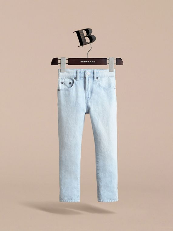 Relaxed Fit Stretch Denim Jeans in Pale Blue - Boy | Burberry - cell image 2