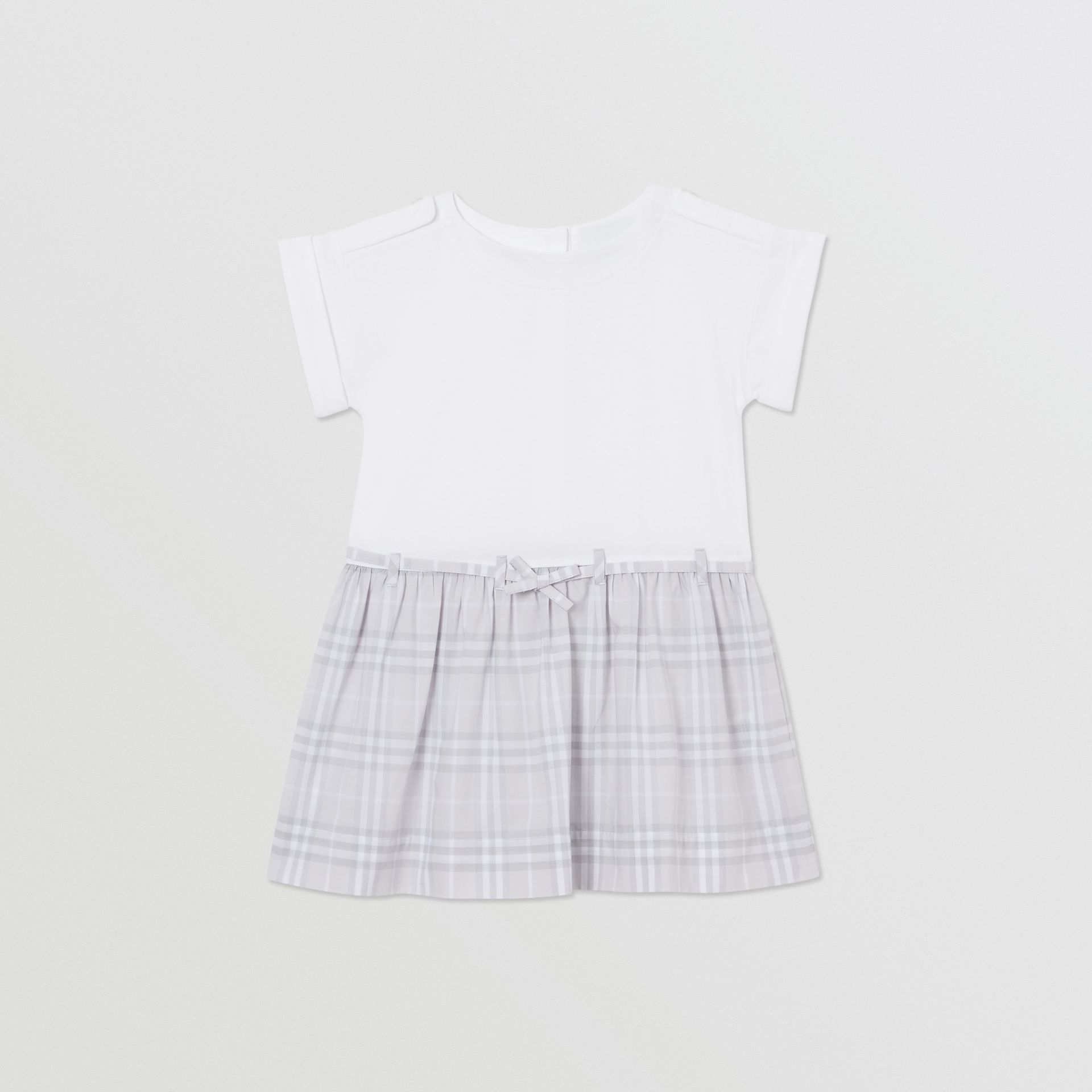 Check Detail Cotton Dress in White - Children | Burberry - gallery image 0