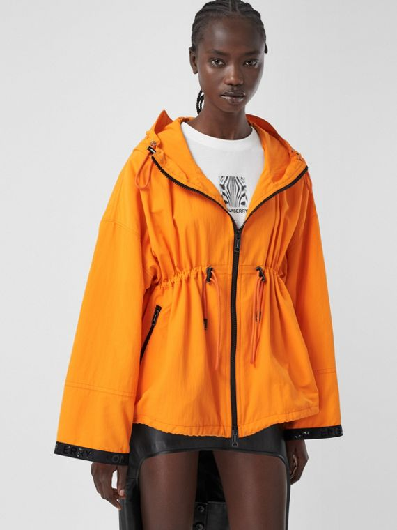 Logo Tape Technical Nylon Hooded Jacket in Bright Orange