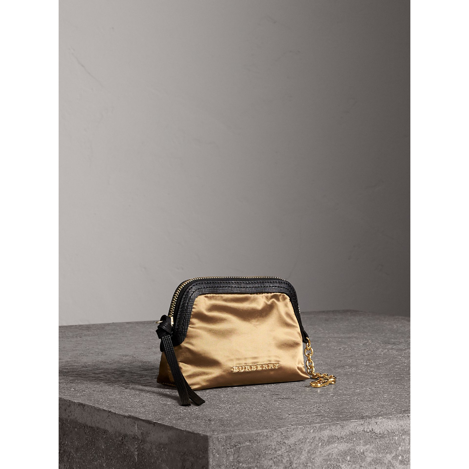 Small Zip-top Leather-trimmed Technical Nylon Pouch in Gold/black - Women | Burberry - gallery image 5