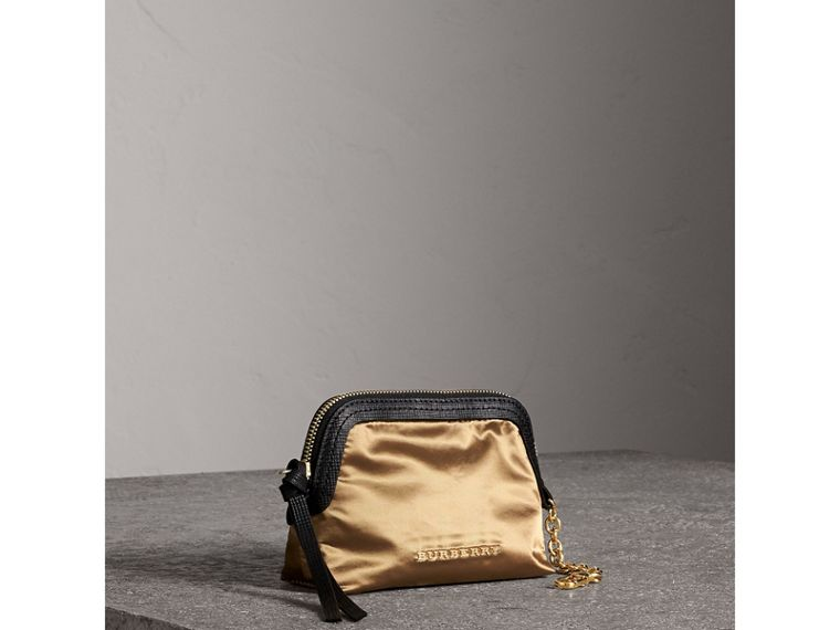 Small Zip-top Leather-trimmed Technical Nylon Pouch in Gold/black - Women | Burberry - cell image 4