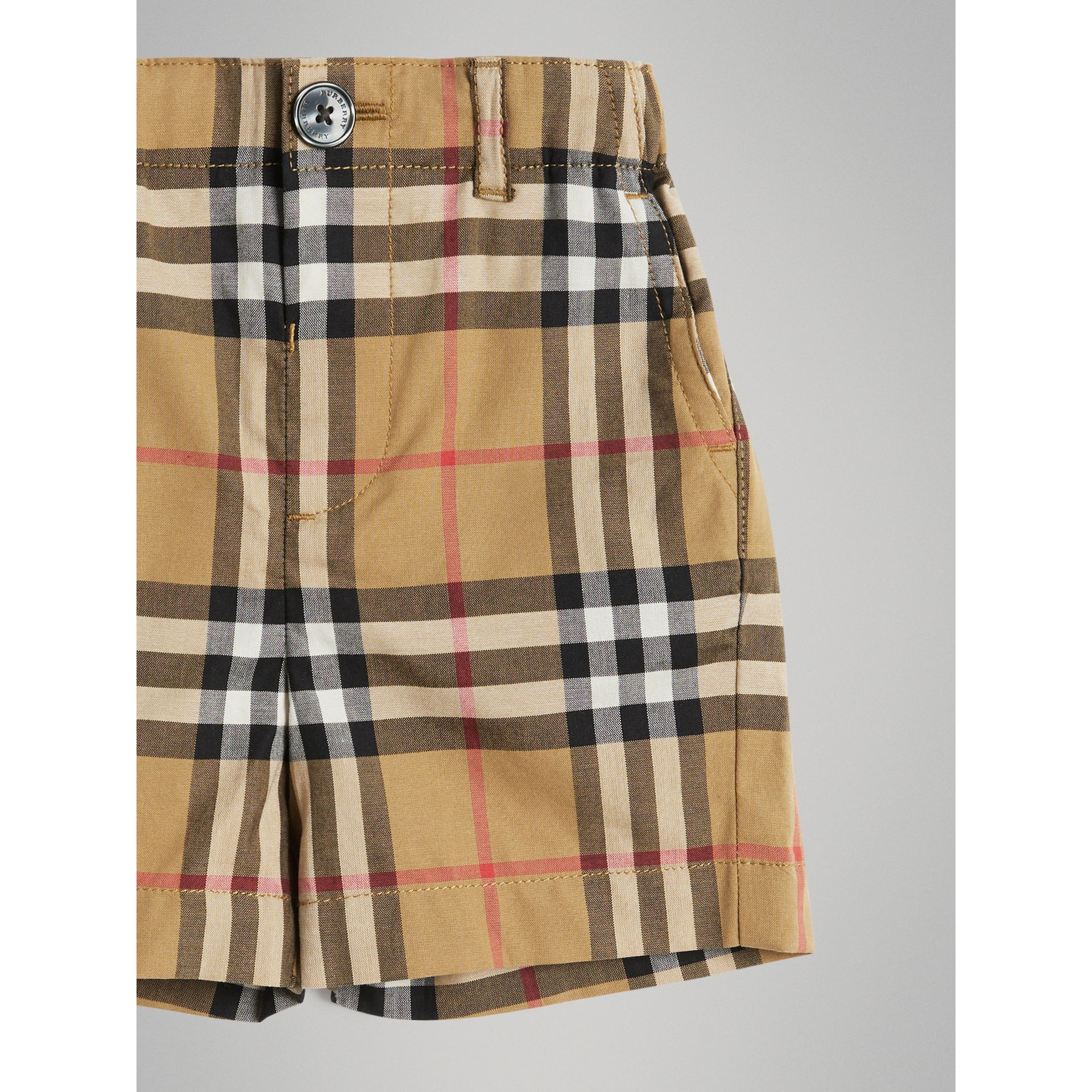 Vintage Check Cotton Tailored Shorts in Antique Yellow - Children | Burberry Australia - gallery image 4