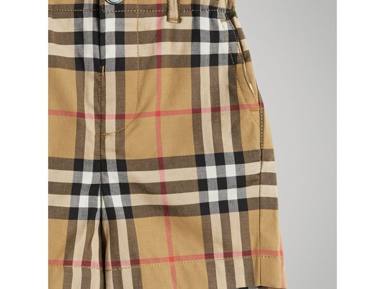 Vintage Check Cotton Tailored Shorts in Antique Yellow | Burberry - cell image 4