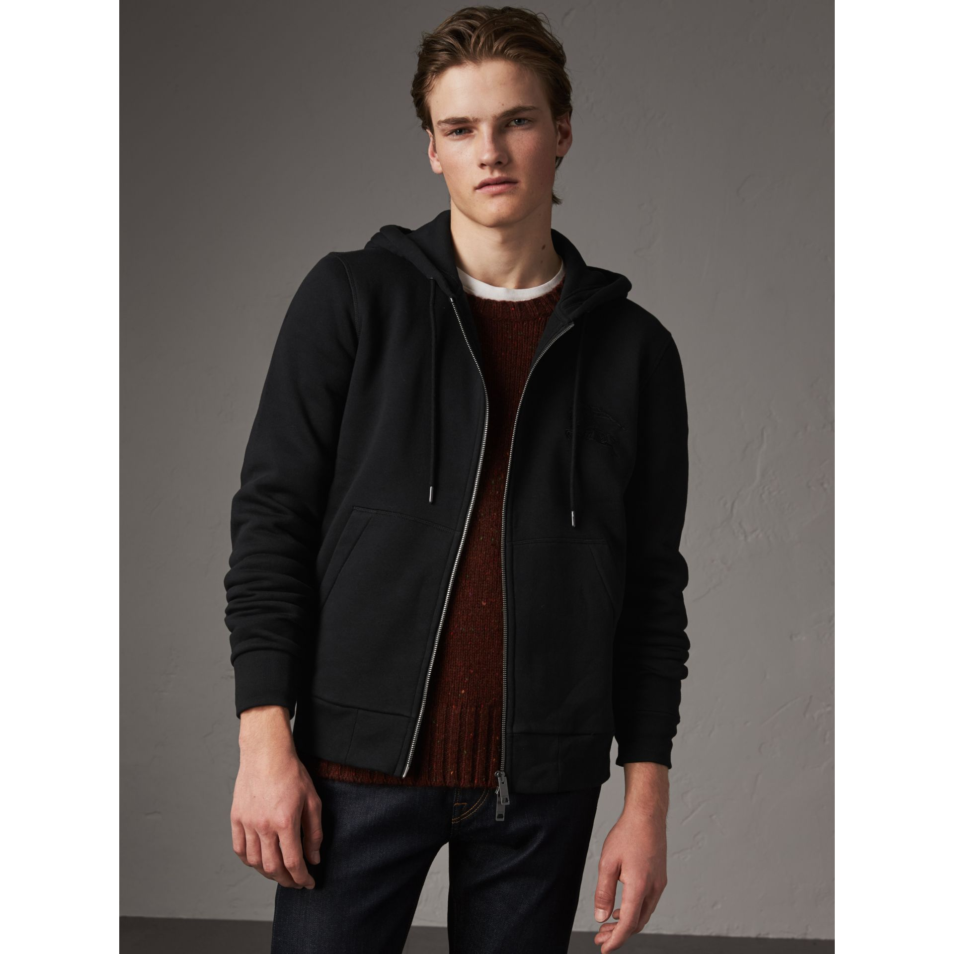 Equestrian Knight Device Jersey Hooded Zip-front Top in Black - Men | Burberry - gallery image 1