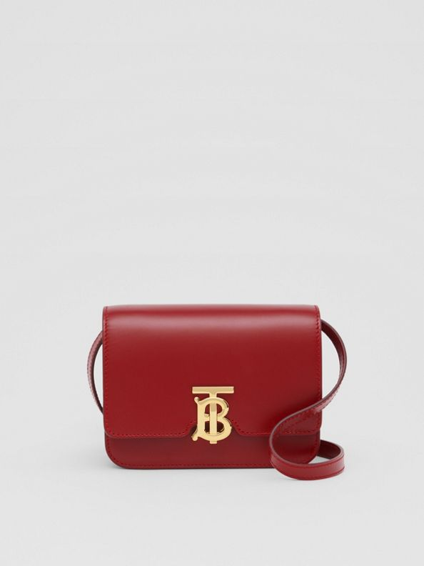 Mini Leather TB Bag in Dark Carmine