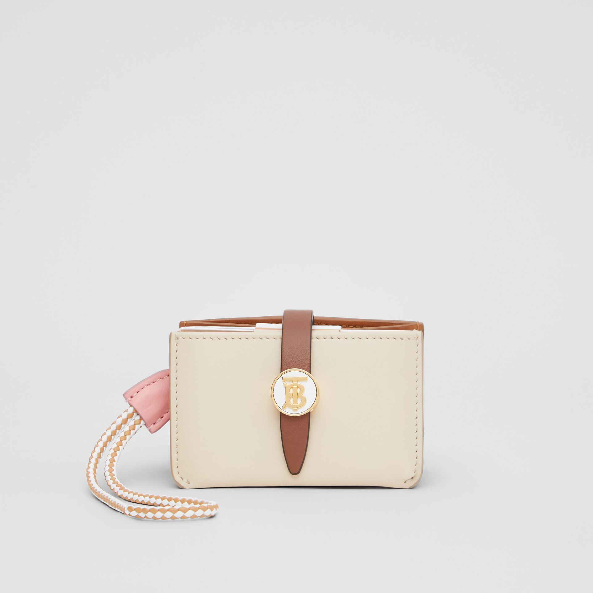 Monogram Motif Colour Block Leather Card Case in Tan/pale Copper/peony Pink - Women | Burberry - gallery image 0