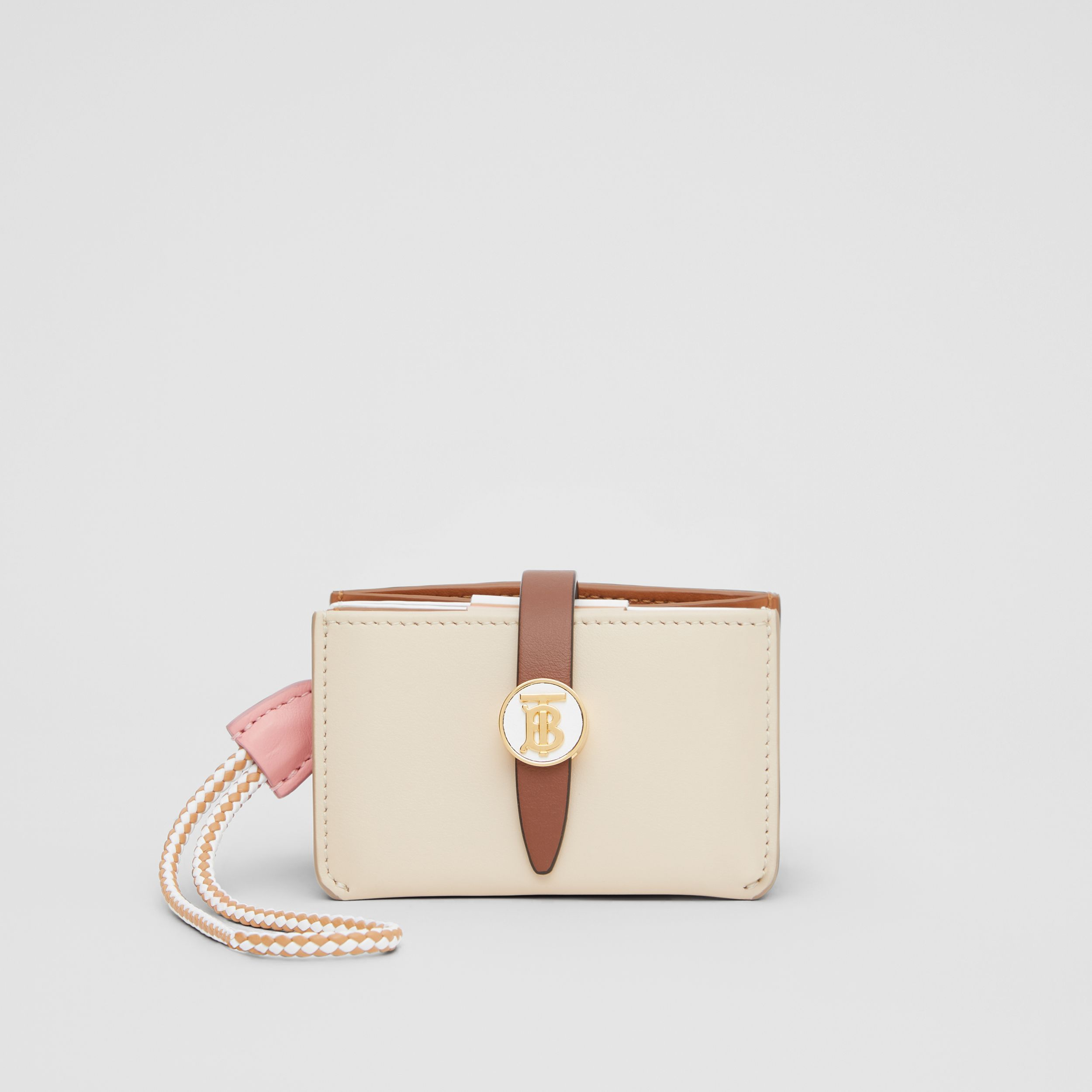 Monogram Motif Colour Block Leather Card Case in Tan/pale Copper/peony Pink - Women | Burberry - 1
