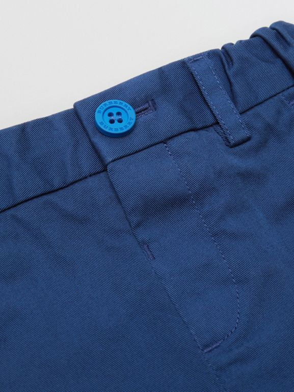 Cotton Chino Shorts in Bright Navy | Burberry - cell image 1