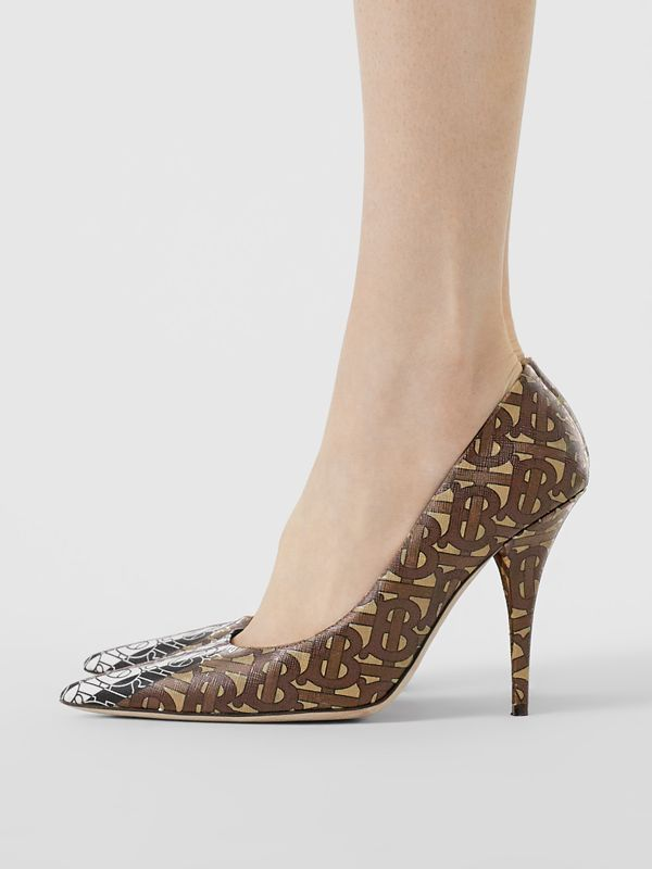 Monogram Stripe E-canvas Pumps in Bridle Brown - Women | Burberry Singapore - cell image 2