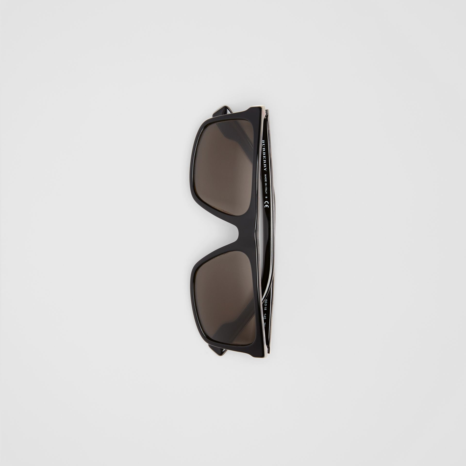 Vintage Check Detail Straight-brow Sunglasses in Black - Men | Burberry - gallery image 3