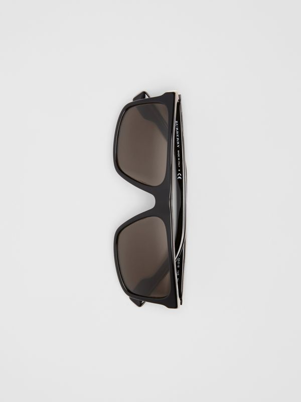 Vintage Check Detail Straight-brow Sunglasses in Black - Men | Burberry Canada - cell image 3