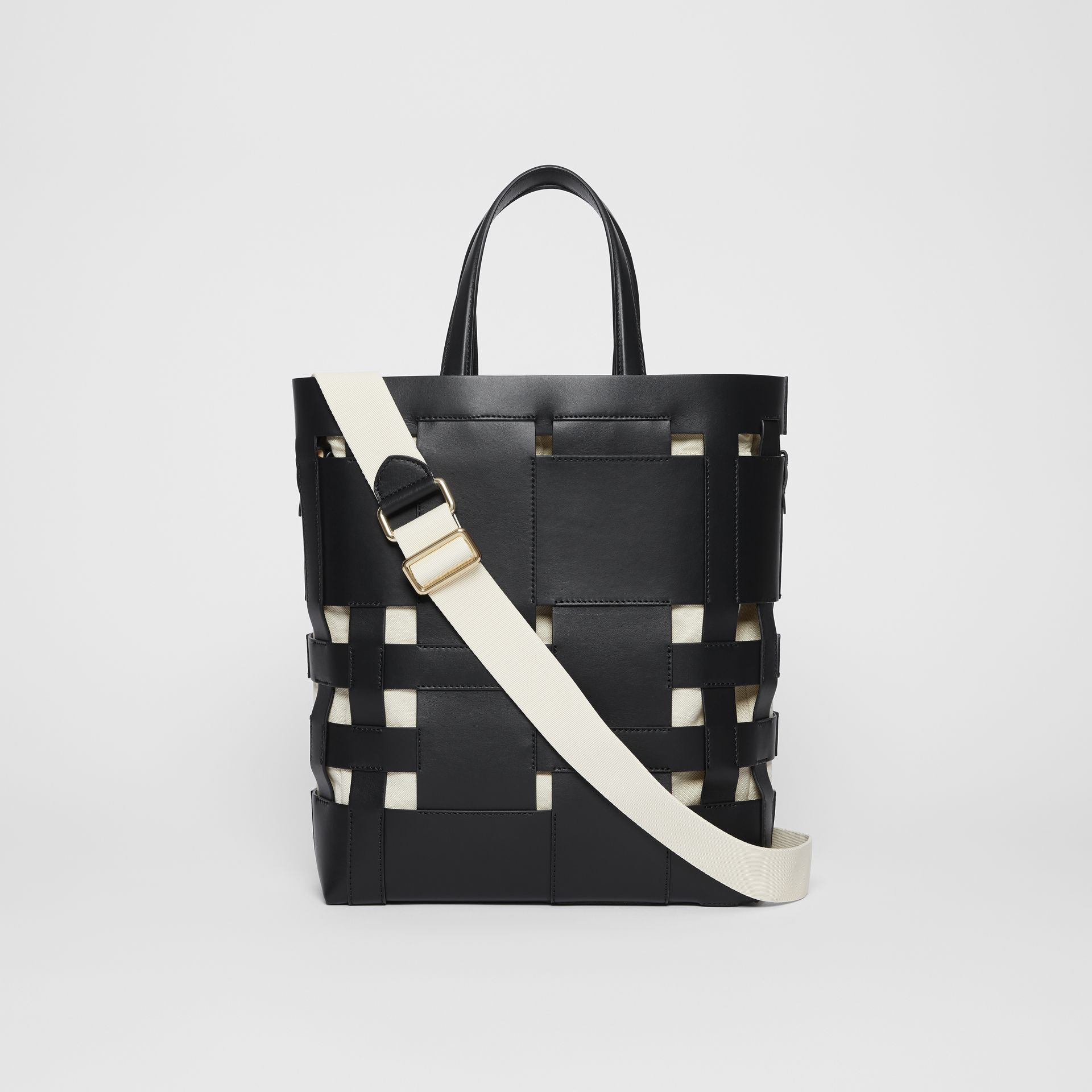Medium Leather Foster Tote in Black - Women | Burberry - gallery image 7