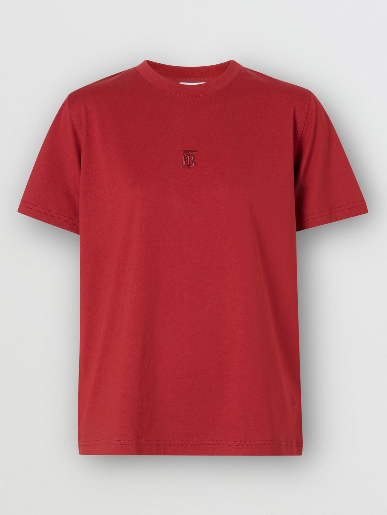 Monogram Motif Cotton T-shirt in Dark Carmine