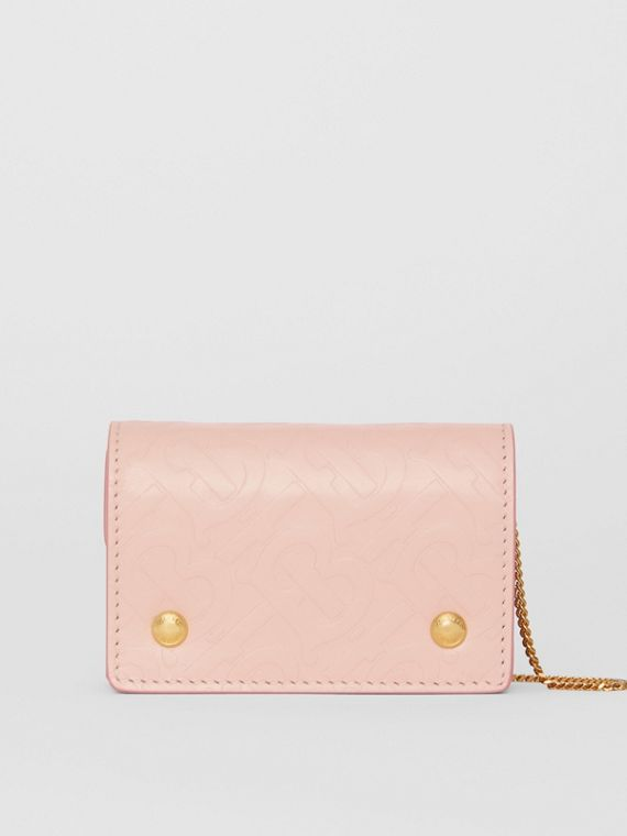 Monogram Leather Card Case with Detachable Strap in Rose Beige