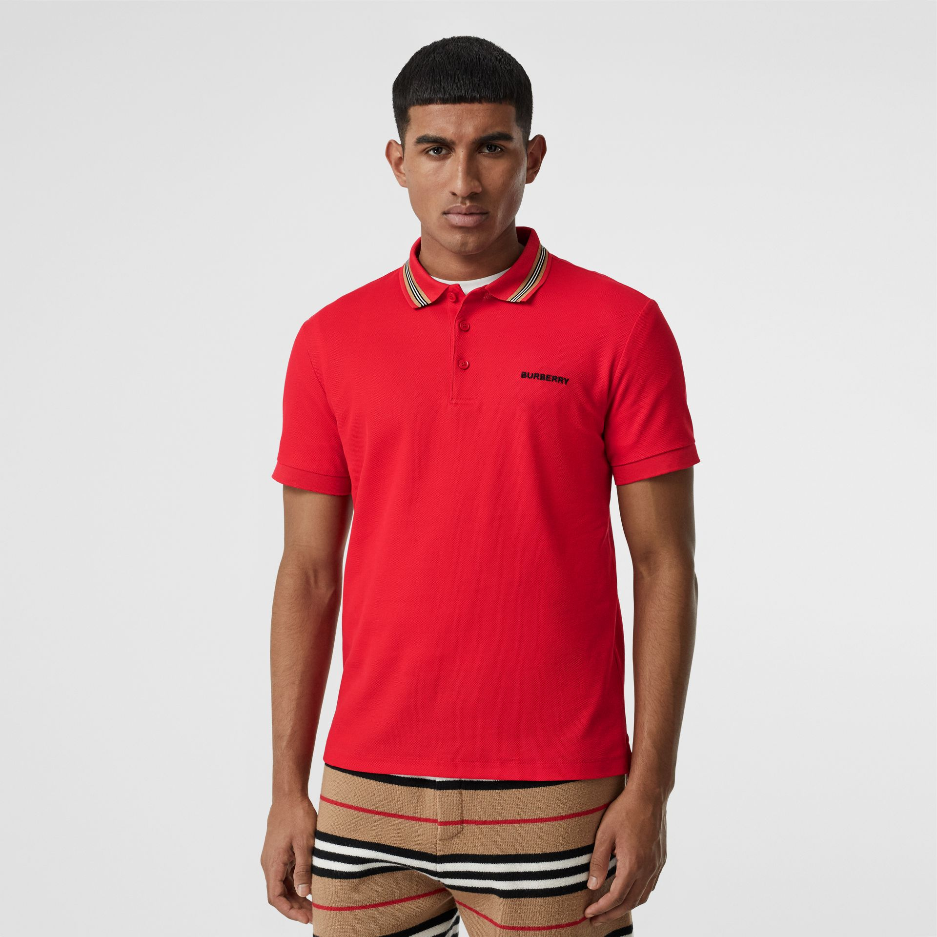 Icon Stripe Detail Cotton Piqué Polo Shirt in Bright Red - Men | Burberry - gallery image 0