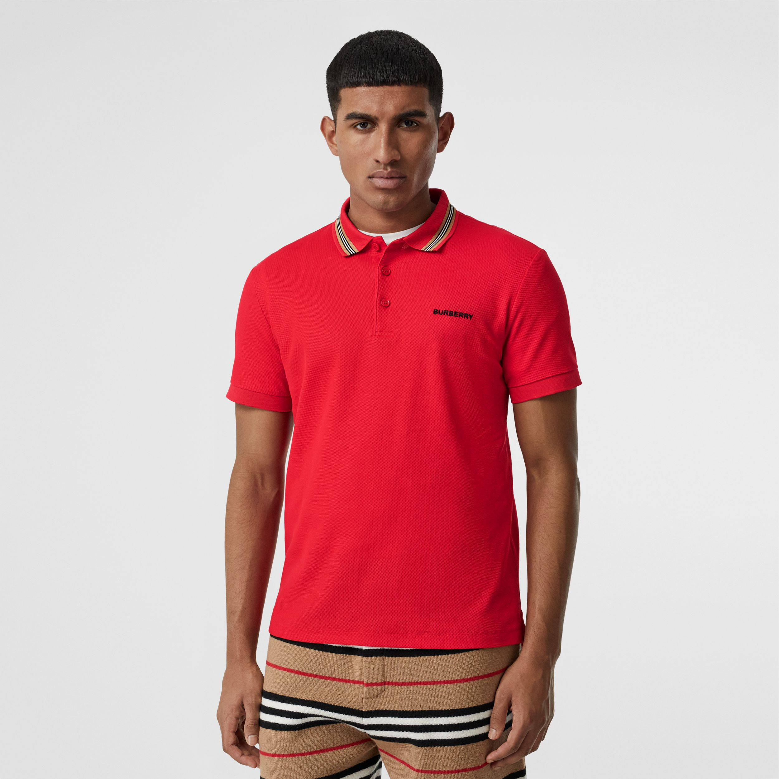 Icon Stripe Detail Cotton Piqué Polo Shirt in Bright Red - Men | Burberry - 1