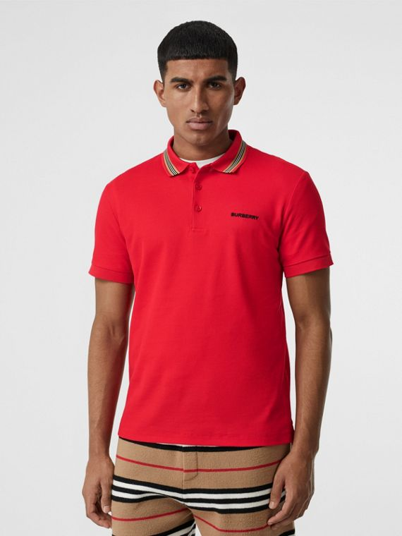 Icon Stripe Detail Cotton Piqué Polo Shirt in Bright Red