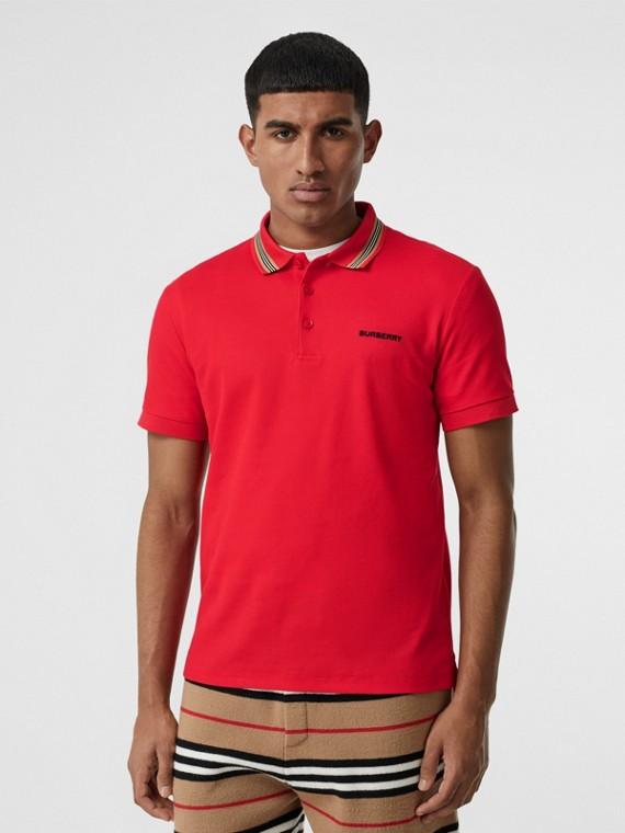 Polo en piqué de coton à rayures iconiques (Rouge Vif)