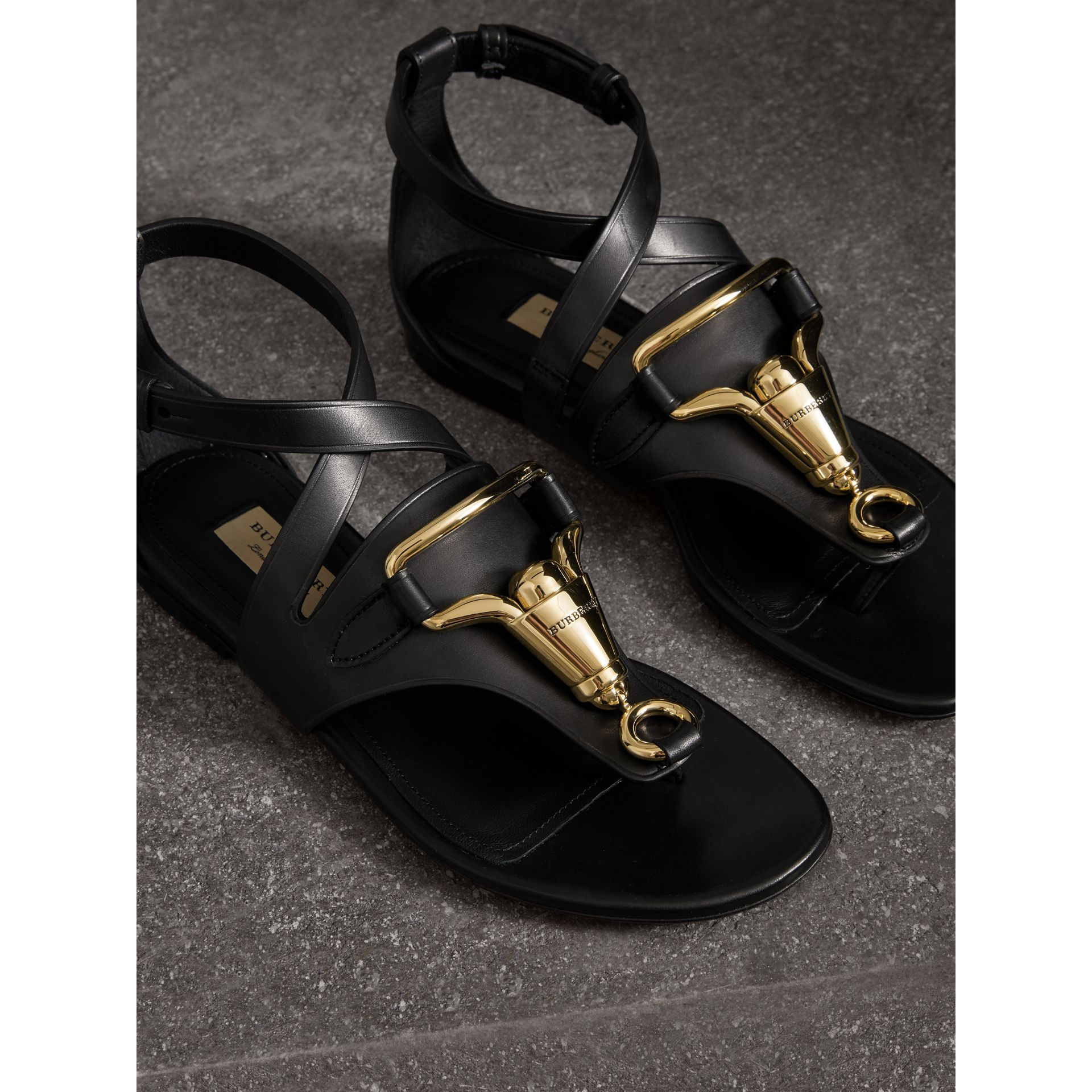 Equestrian Detail Leather Sandals in Black - Women | Burberry - gallery image 3