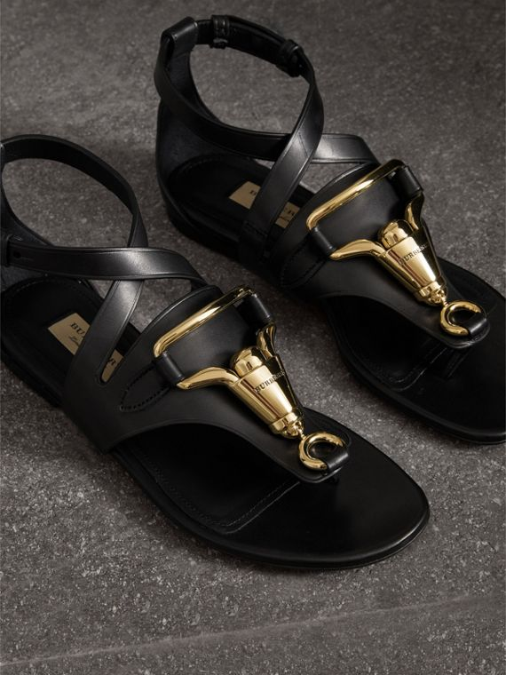 Equestrian Detail Leather Sandals in Black - Women | Burberry - cell image 3