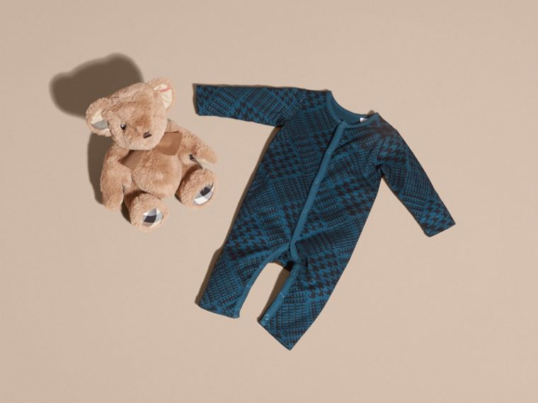 Mineral blue Prince of Wales Check Print Cotton Jumpsuit - cell image 4