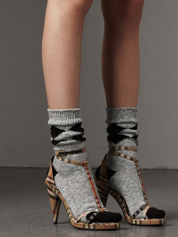 Vintage Check Cotton High-heel Sandals in Antique Yellow - Women | Burberry - cell image 2